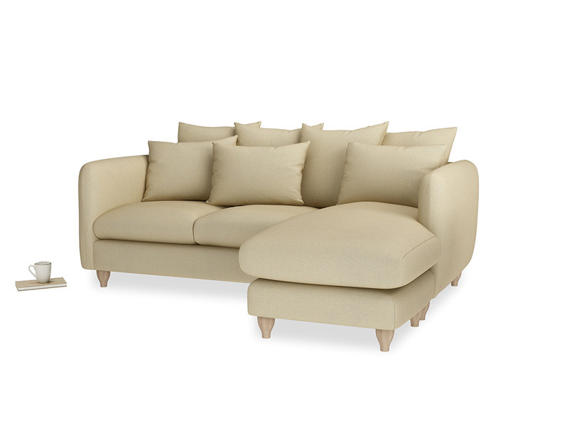 Large right hand Podge Chaise Sofa in Parchment Clever Linen