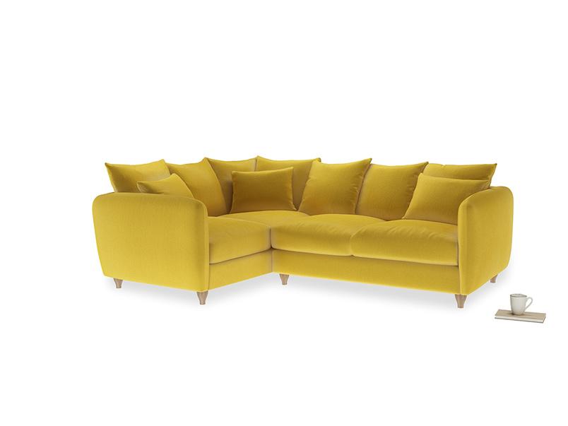 Large Left Hand Podge Corner Sofa in Bumblebee clever velvet