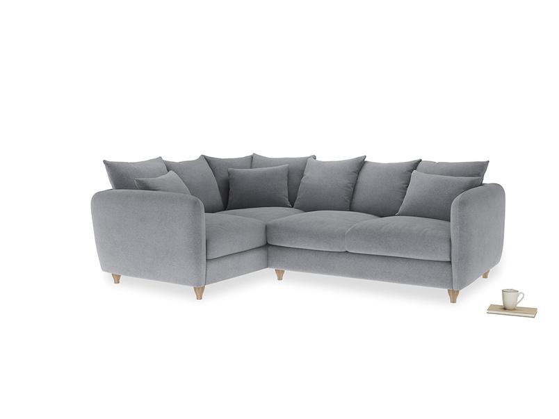 Large Left Hand Podge Corner Sofa in Dove grey wool