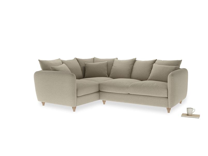 Large Left Hand Podge Corner Sofa in Jute vintage linen