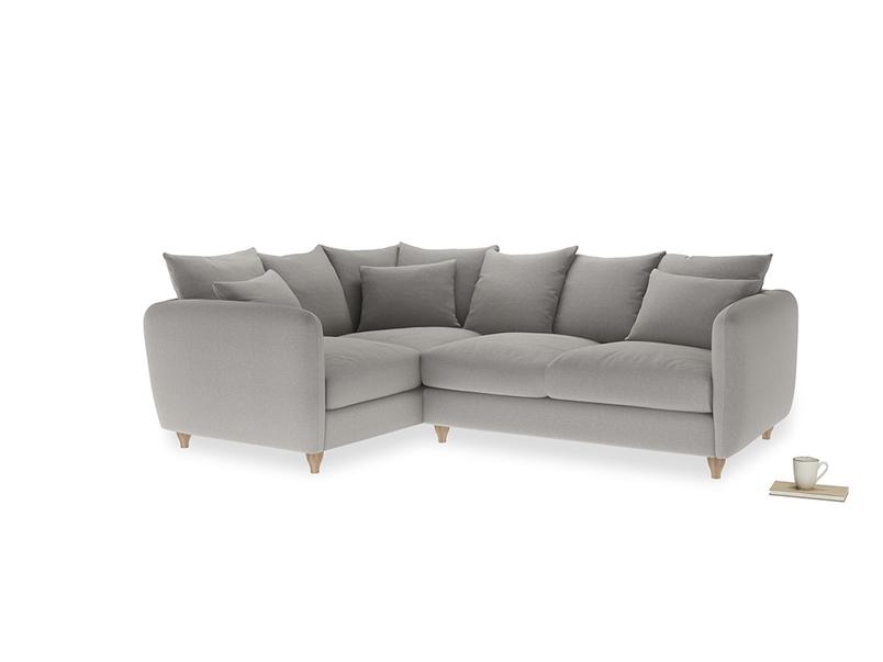 Large Left Hand Podge Corner Sofa in Wolf brushed cotton