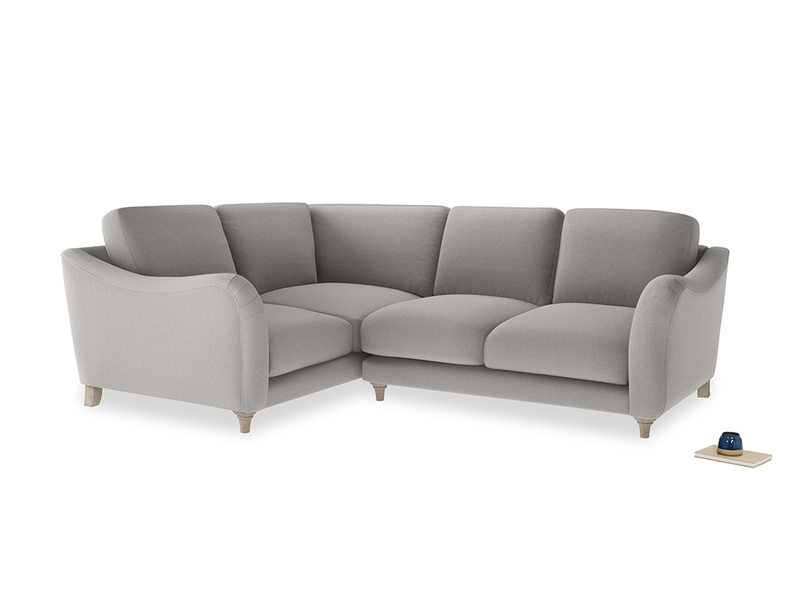 Large Left Hand Bumpster Corner Sofa in Wolf brushed cotton