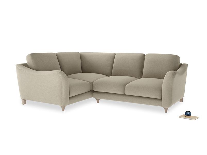 Large Left Hand Bumpster Corner Sofa in Jute vintage linen