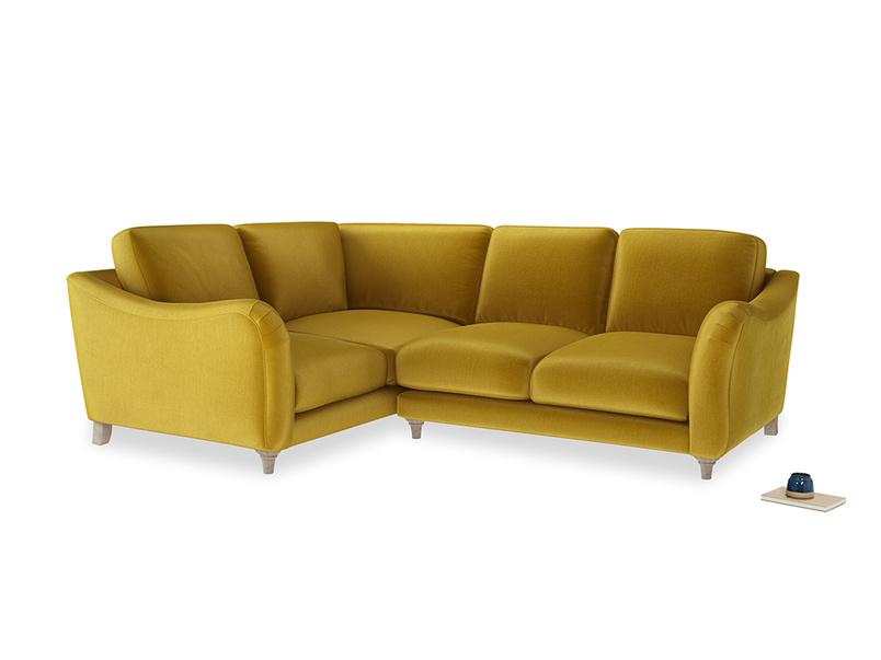 Large Left Hand Bumpster Corner Sofa in Burnt yellow vintage velvet