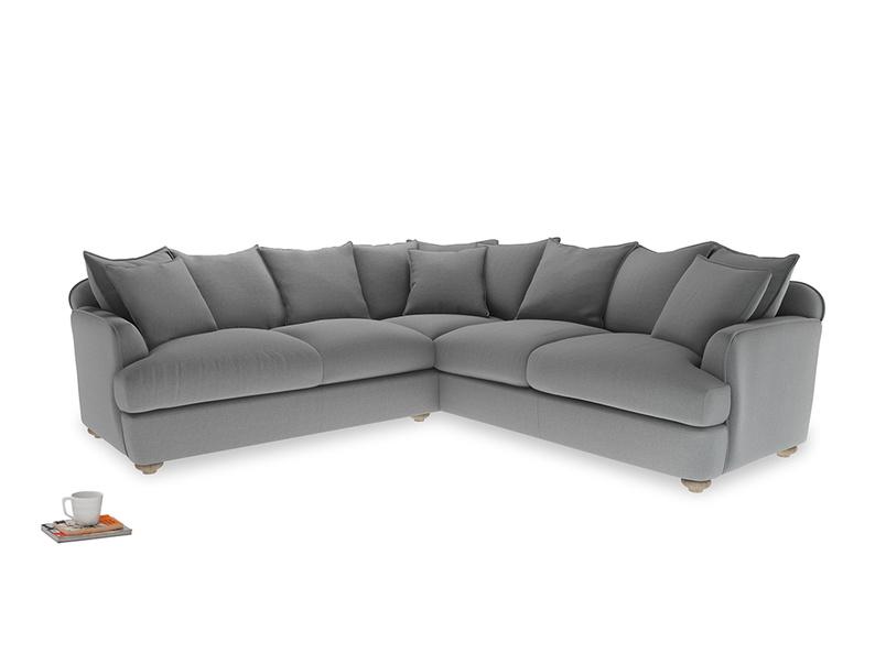 Even Sided Smooch Corner Sofa in Gun Metal brushed cotton