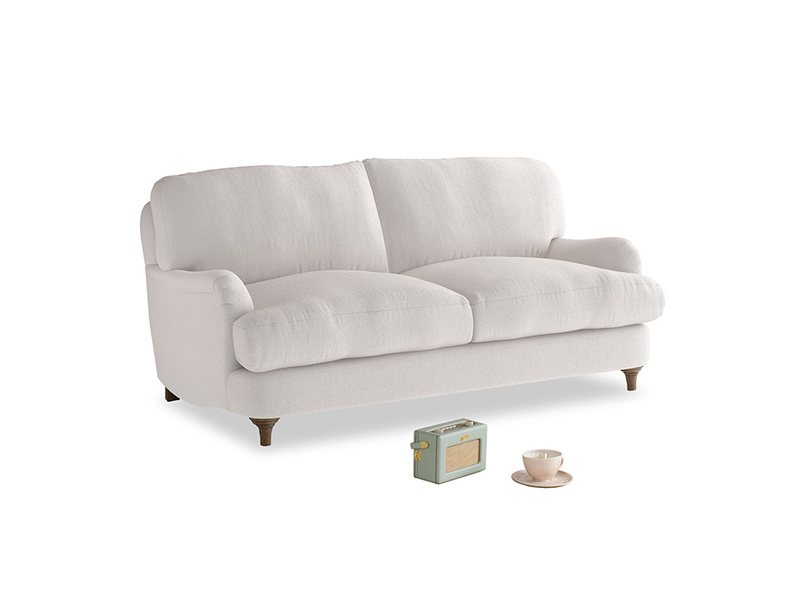 Small Jonesy Sofa in Winter White Clever Velvet