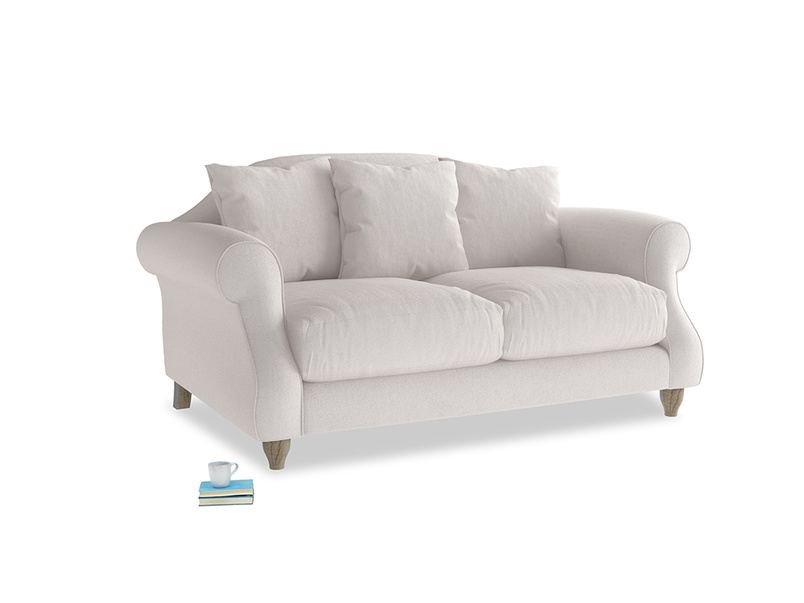 Small Sloucher Sofa in Winter White Clever Velvet