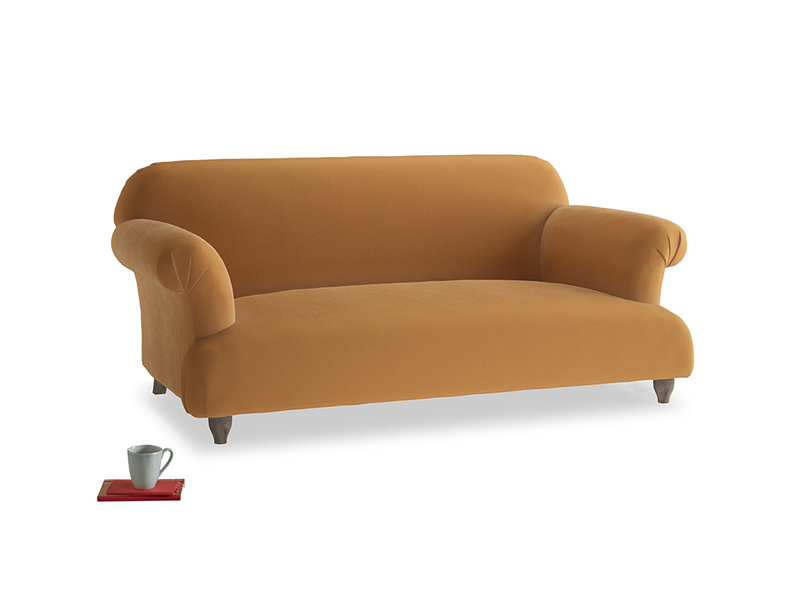 Medium Soufflé Sofa in Caramel Plush Velvet