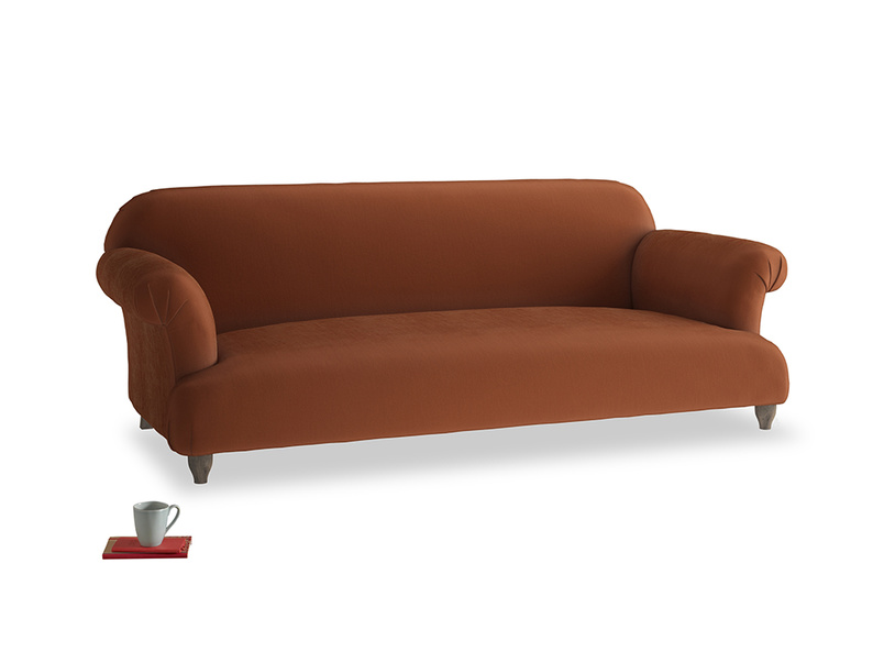 Large Soufflé Sofa in Praline Plush Velvet