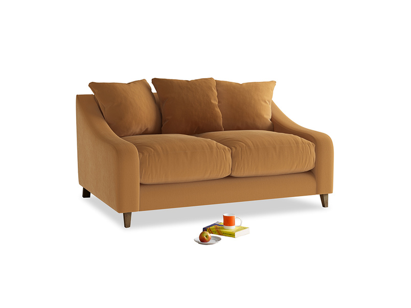Small Oscar Sofa in Caramel Plush Velvet