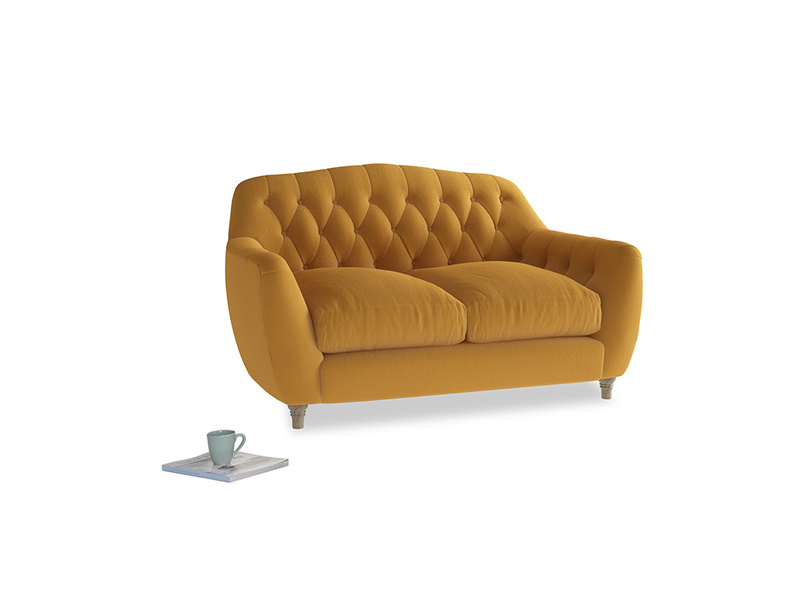 Small Butterbump Sofa in Burnished Yellow Clever Velvet