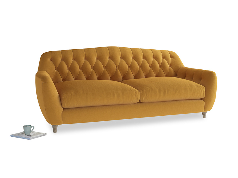 Large Butterbump Sofa in Burnished Yellow Clever Velvet
