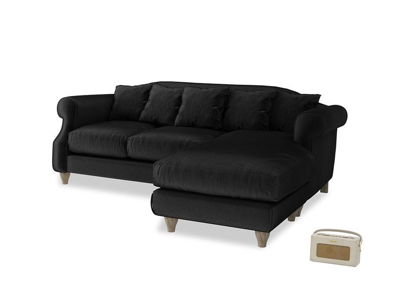 Large right hand Sloucher Chaise Sofa in Blackboard Vintage Velvet