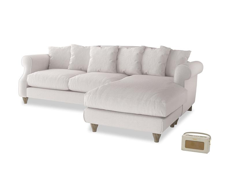 XL Right Hand  Sloucher Chaise Sofa in Winter White Clever Velvet