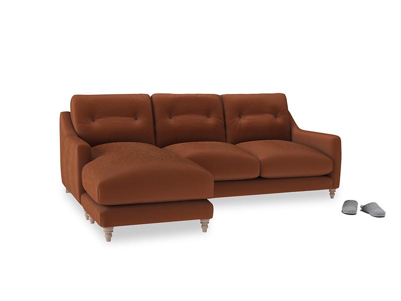 Large left hand Slim Jim Chaise Sofa in Praline Plush Velvet