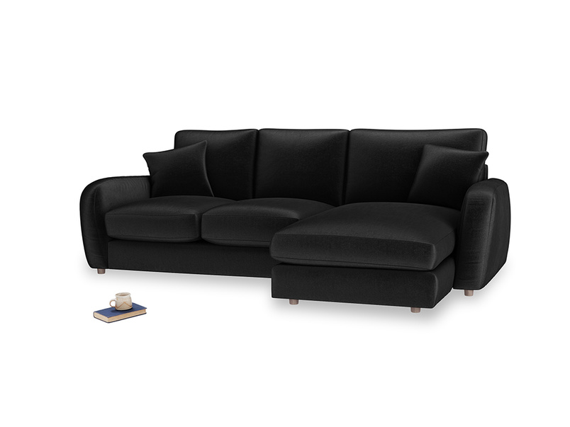 Large right hand Easy Squeeze Chaise Sofa in Blackboard Vintage Velvet