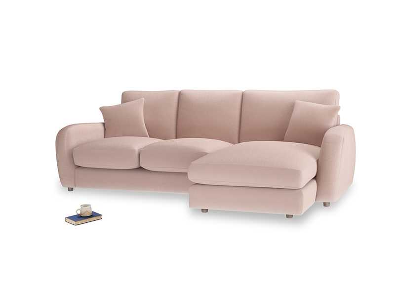 Large right hand Easy Squeeze Chaise Sofa in Dried Plaster Clever Velvet