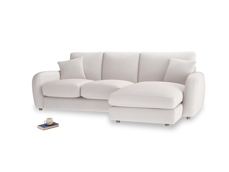 Large right hand Easy Squeeze Chaise Sofa in Winter White Clever Velvet