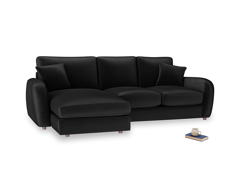 Large left hand Easy Squeeze Chaise Sofa in Blackboard Vintage Velvet