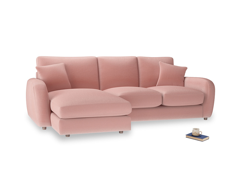 Large left hand Easy Squeeze Chaise Sofa in Vintage Pink Clever Velvet