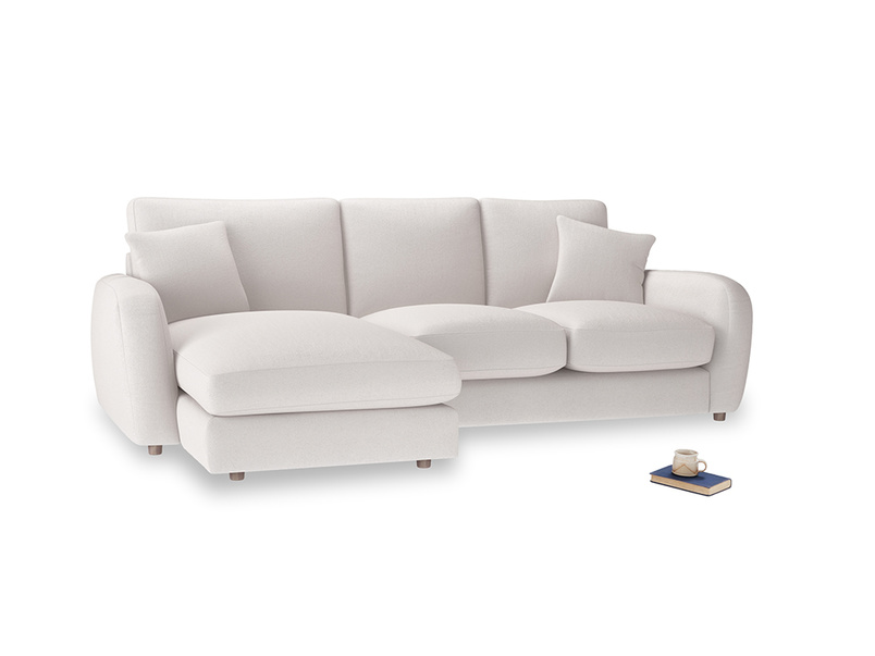 Large left hand Easy Squeeze Chaise Sofa in Winter White Clever Velvet