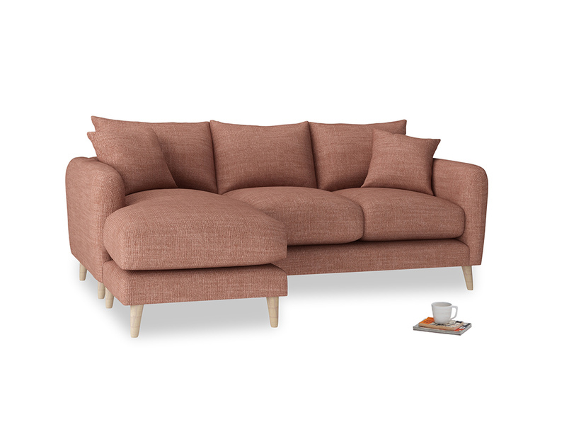 Large left hand Squishmeister Chaise Sofa in Dried Rose Clever Laundered Linen