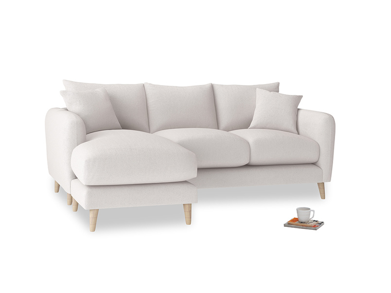 Large left hand Squishmeister Chaise Sofa in Winter White Clever Velvet