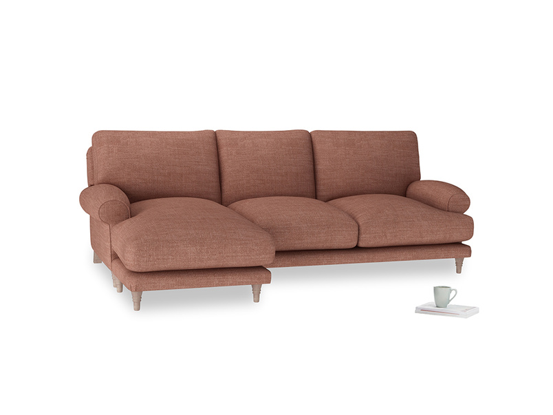 Large left hand Slowcoach Chaise Sofa in Dried Rose Clever Laundered Linen