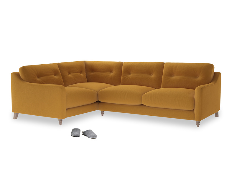 Large Left Hand Slim Jim Corner Sofa in Burnished Yellow Clever Velvet