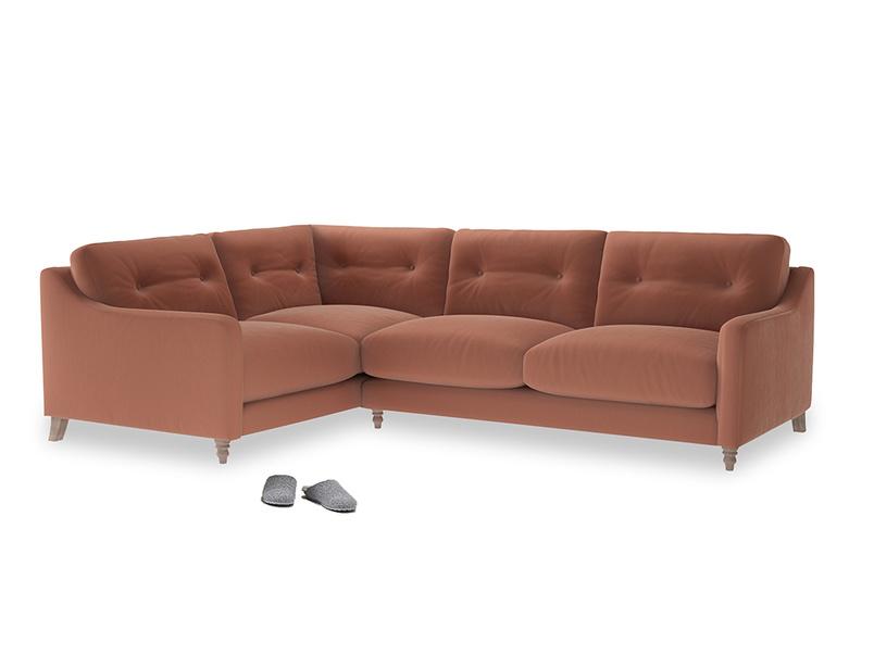 Large Left Hand Slim Jim Corner Sofa in Pinky Peanut Plush Velvet