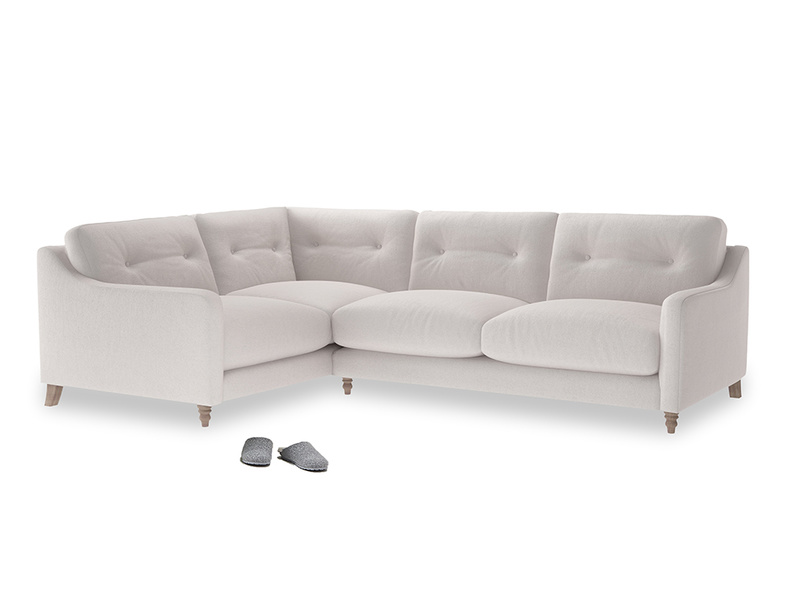 Large Left Hand Slim Jim Corner Sofa in Winter White Clever Velvet