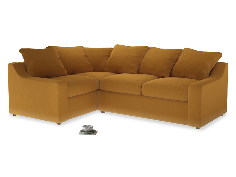 Large Left Hand Cloud Corner Sofa in Burnished Yellow Clever Velvet