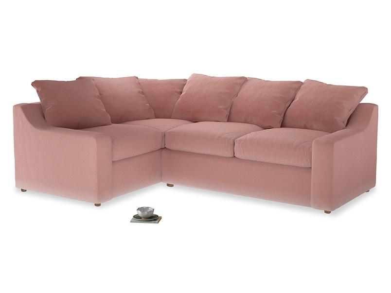 Large Left Hand Cloud Corner Sofa in Vintage Pink Clever Velvet