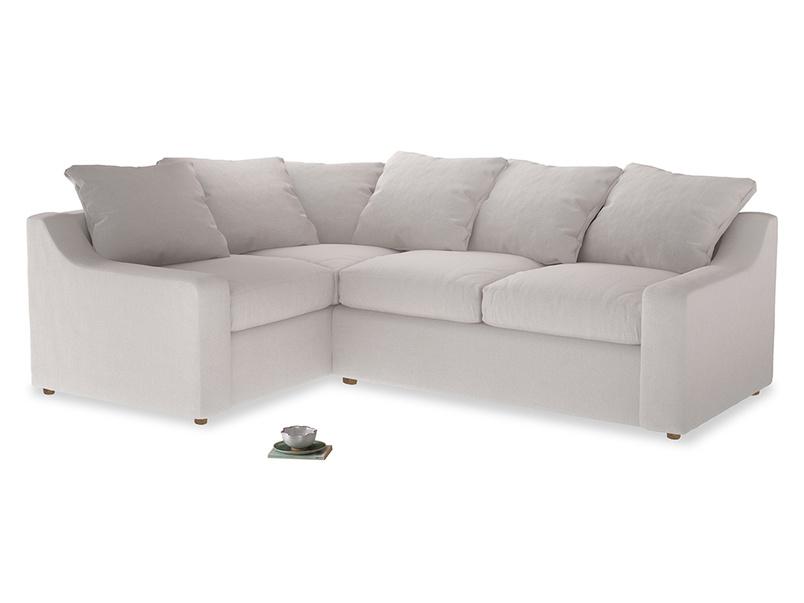 Large Left Hand Cloud Corner Sofa in Winter White Clever Velvet