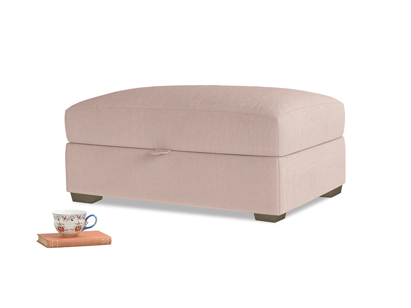 Bumper Storage Footstool in Dried Plaster Clever Velvet