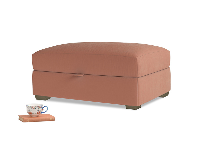 Bumper Storage Footstool in Pinky Peanut Plush Velvet