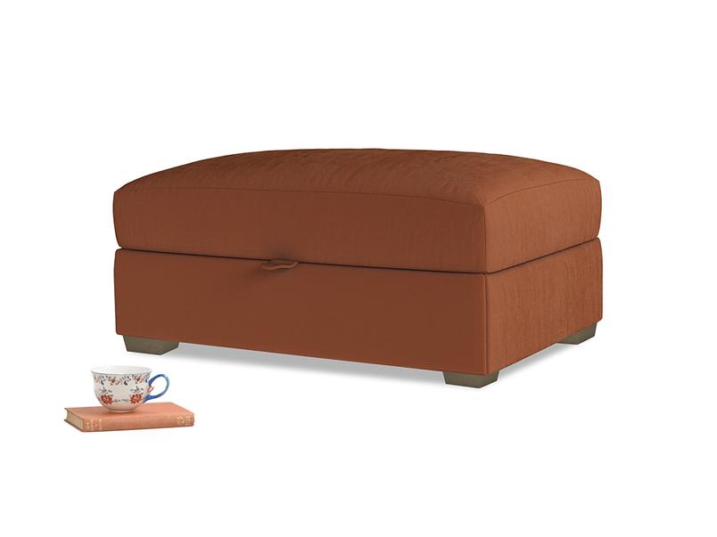 Bumper Storage Footstool in Praline Plush Velvet