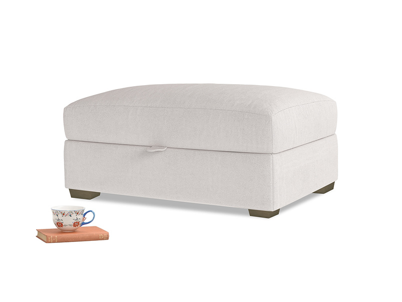 Bumper Storage Footstool in Winter White Clever Velvet