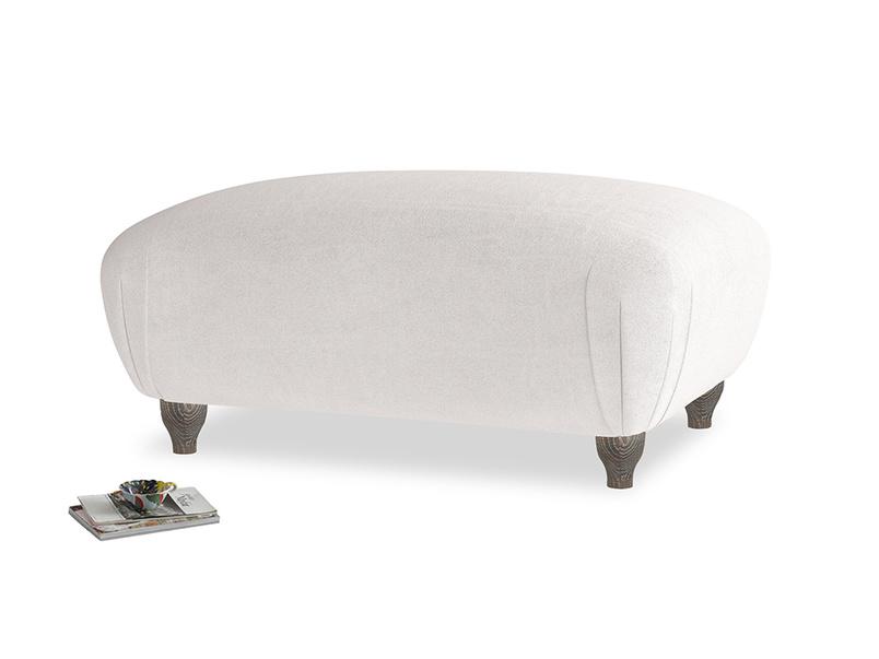 Rectangle Homebody Footstool in Winter White Clever Velvet