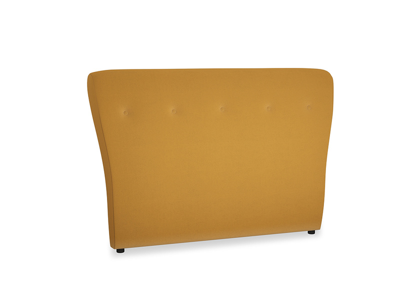 Double Smoke Headboard in Burnished Yellow Clever Velvet