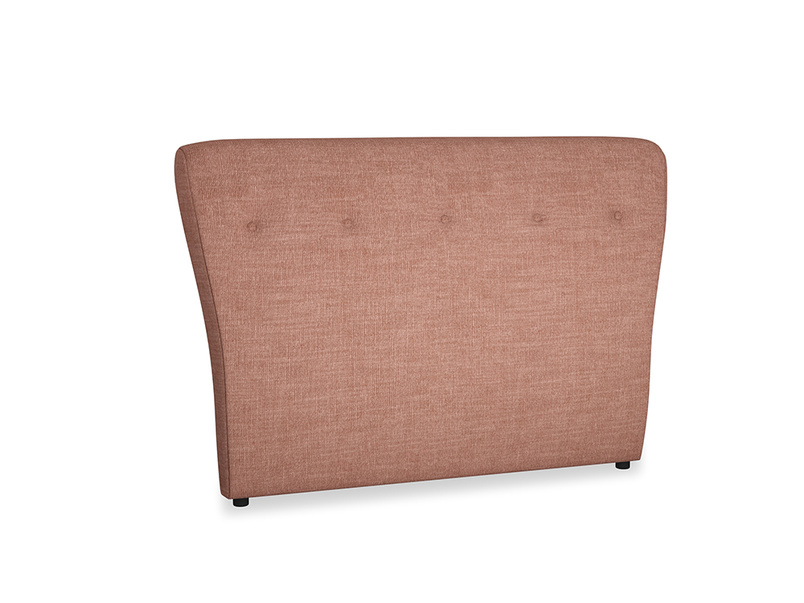 Double Smoke Headboard in Dried Rose Clever Laundered Linen