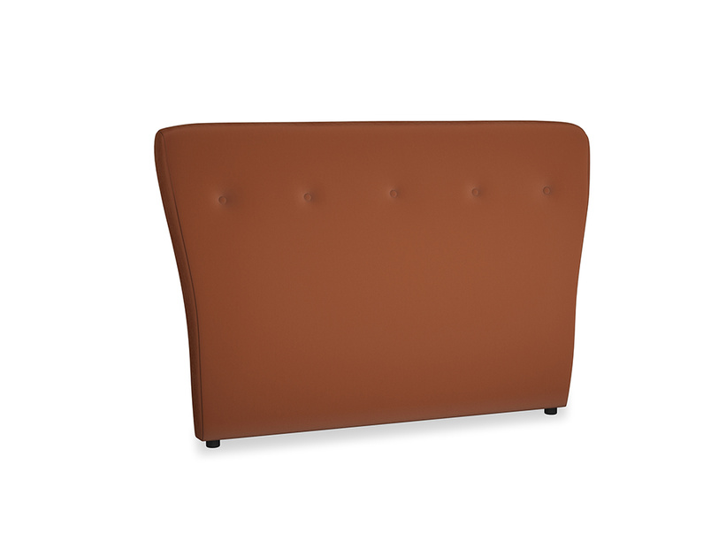 Double Smoke Headboard in Praline Plush Velvet