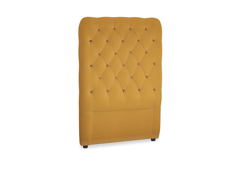 Single Tall Billow Headboard in Burnished Yellow Clever Velvet