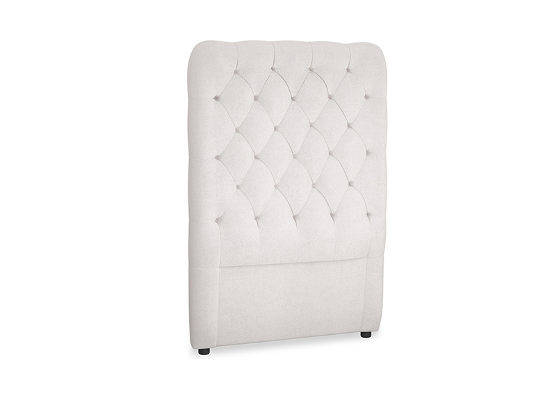Single Tall Billow Headboard in Winter White Clever Velvet