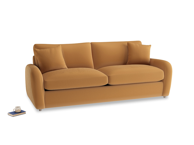 Large Easy Squeeze Sofa Bed in Caramel Plush Velvet