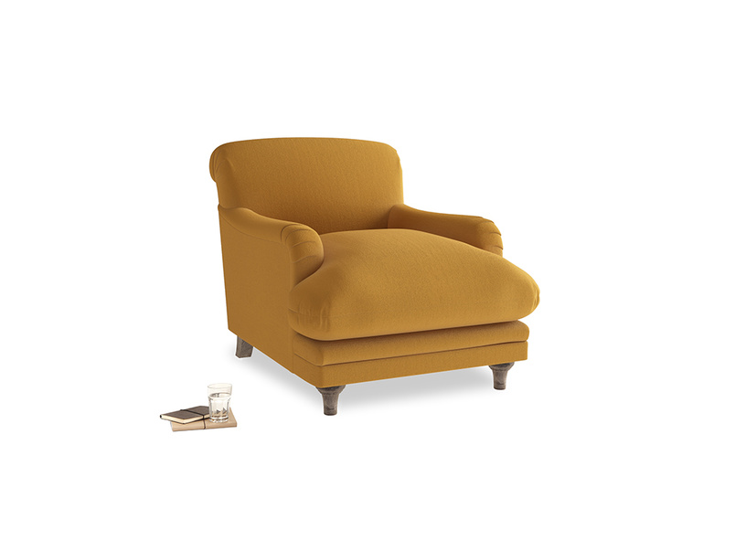 Pudding Armchair in Burnished Yellow Clever Velvet