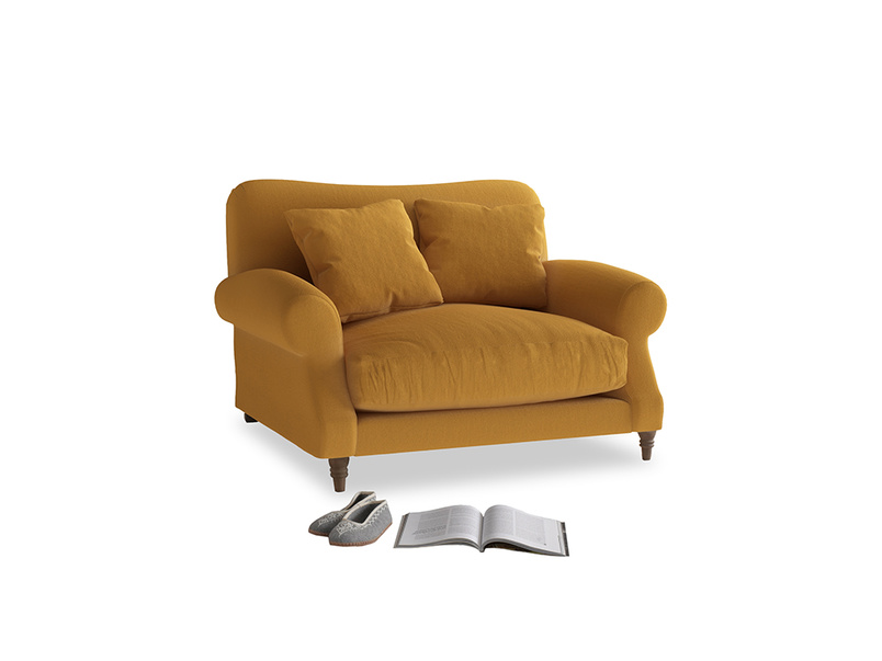 Crumpet Love seat in Burnished Yellow Clever Velvet