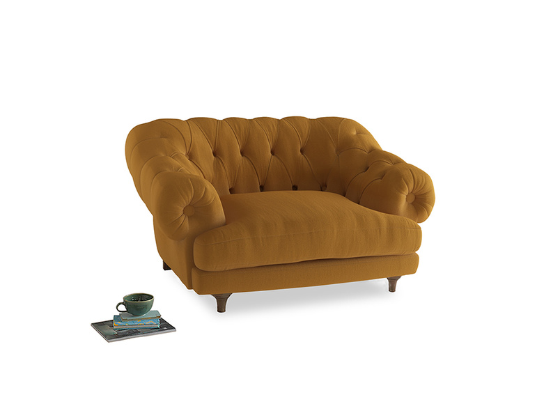 Bagsie Love Seat in Burnished Yellow Clever Velvet