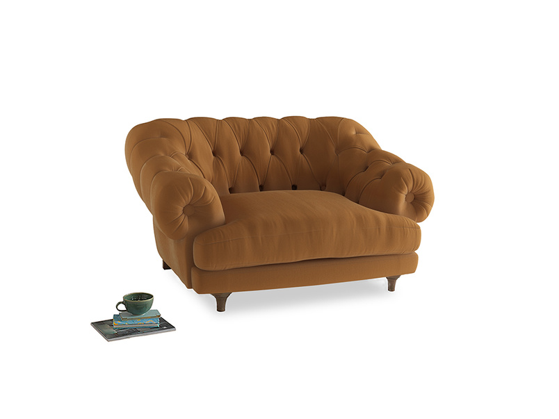 Bagsie Love Seat in Caramel Plush Velvet