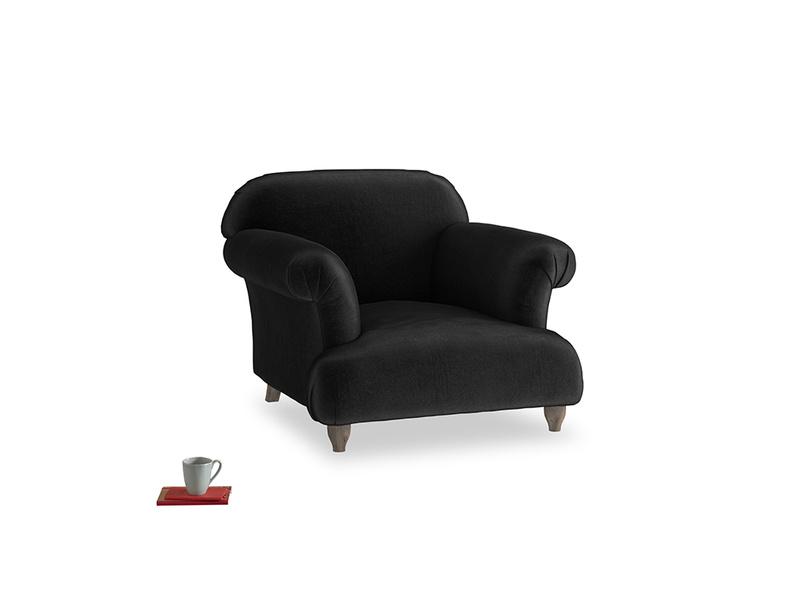 Soufflé Armchair in Blackboard Vintage Velvet